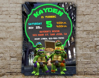 Ninja Turtles Invitation, Ninja Turtles Invite, Ninja Turtles Birthday, Ninja Turtles Party, Ninja Turtles Birthday Invitation