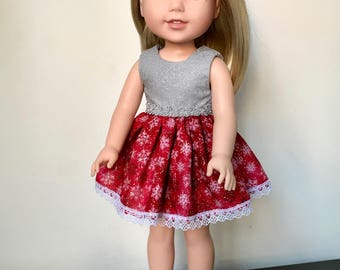 "14.5"" doll dress , red-grey handmade ,fits dolls like Wellie Wishers American Girl"