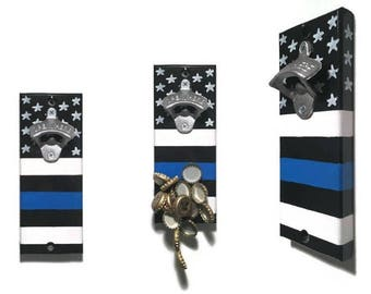 Wall OR Magnetic Mount Thin Blue Line Flag Bottle Opener with Magnetic Cap Catcher - Police Officer - Line of Duty