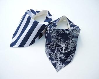 Nautical baby bibs-Bamboo baby bibs-Bandana bibs-Nautical map bib-Navy&white stripes bib-Baby boy bibs- Bandana bibs for boys