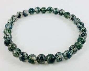 Moss Agate stretch bangle bracelet
