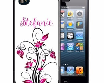 Monogrammed Rubber Case For iPhone X, 8, 8 plus, 7, 7 plus, 6s, 6s plus, 5, 5s, 5c, SE - Pink Black Flowers