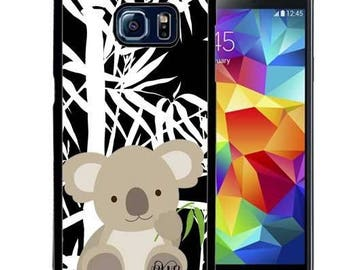 Monogrammed Rubber Case For Samsung Note 3, Note 4, Note 5, or Note 8- Cute Koala Bamboo