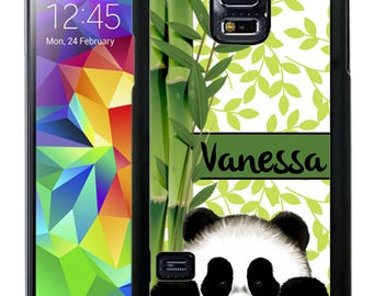 Personalize Rubber Case For Samsung Note 3, Note 4, Note 5, or Note 8- Cute Panda Green Bamboo