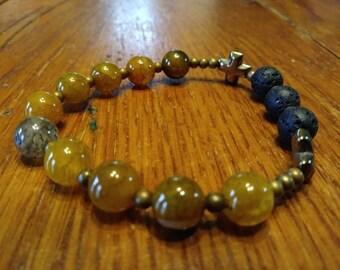Essential Oil Diffuser Bracelet, Natural Gemstone, Fire Crackle Agate Bead Stretch Bracelet, Rosary Bracelet