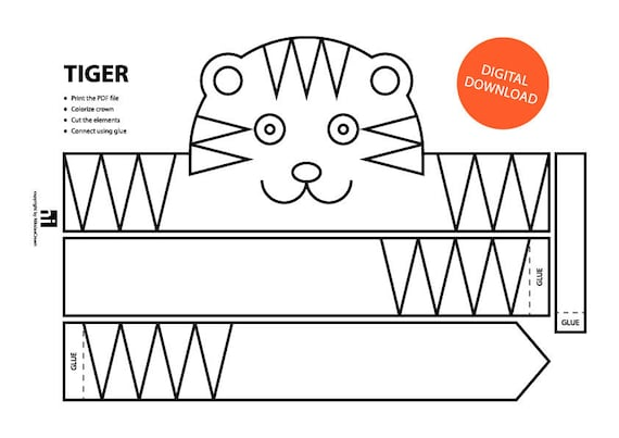 Tiger Paper Crown Printable Coloring on Cat Mask Coloring Page 2