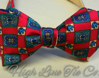 Handmade Silk Self-tie bow tie made from a vintage Tommy Hilfiger necktie. One-of-a-kind