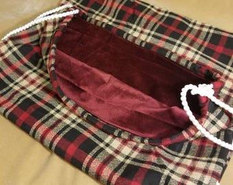 Red velvet lined plaid Santa sack XL