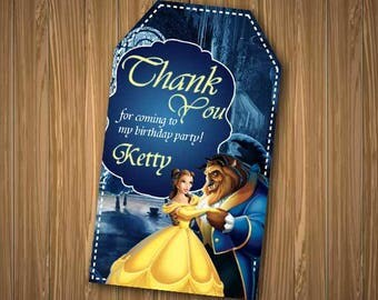 Beauty and the Beast Thank You tags, Beauty and the Beast Thank You Card, Belle Birthday, Princess Belle Tag, Disney Princess Printables