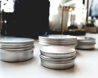 High Quality Silver Aluminum Tin Jar Can Container DIY Beauty Cosmetics Storage Balms Salves Lotion Butters Multiple Sizes 5 Piece Set