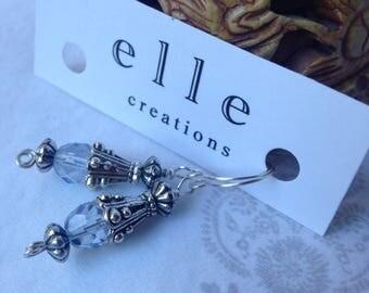 Baby Blue Glass Bead Drop Earrings.