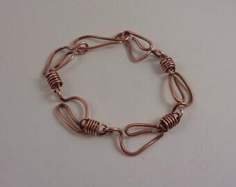 Copper leaf chainlink bracelet