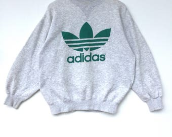 Adidas Sweatshirt Big Logo Embroidery Sweat Medium Size Jumper Pullover Jacket Sweater Shirt Vintage 90's