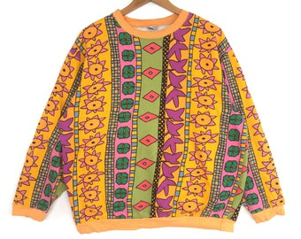 Ken done Sweatshirt multicolour full print Big Logo Embroidery Sweat Medium Size Jumper Pullover Jacket Sweater Shirt Vintage 90's