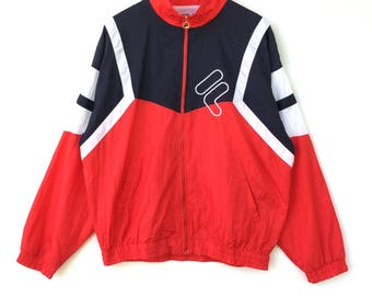 Fila Windbreaker Sweater colour Block Big Logo Embroidery Sweat Medium Size Jumper Pullover Jacket Sweater Shirt Vintage 90's