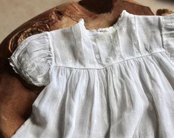 Antique Baby Dress Puff Sleeve and Embroidered Flowers