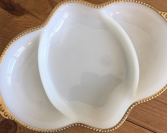 Anchor Hocking Fire King Gold Beaded Rim Milk Glass Divided Serving Dish