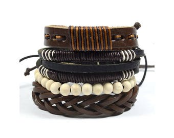 4 Pack Brown and Beige Bracelet Set
