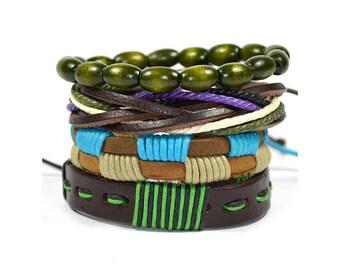 4 Pack Olive Bracelet Set