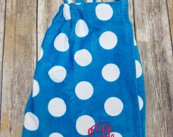Girls Bath Wrap Towel Wrap Personalized Beach or Pool cover up Aqua, Purple, Or Pink with White Polka Dots