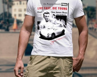 James Dean American Icon Movie Star Live Fast Die Young Men T-shirt