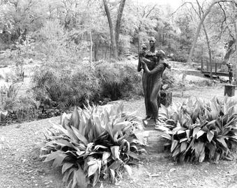 Wall Art Print, Black and White Photography of Umlauf Sculpture Garden, Apartment Decorating, Living Room Decor, Black and White Art, Austin