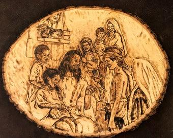 Christian Art: Burned Wooden Slab