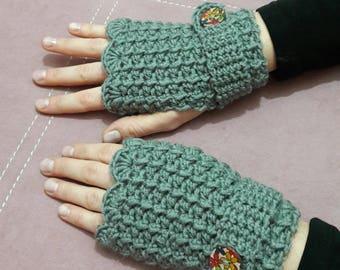 Fingerless grey mittens, arm warmers,  women mittens, crochet grey mittens, fingerless women gloves.