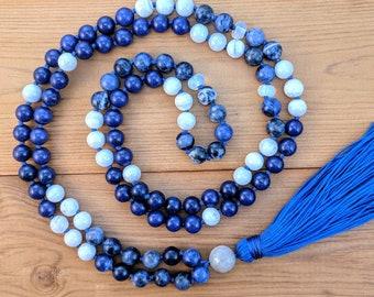 Sodalite, Lapis Lazuli, and Blue Lace Agate Mala