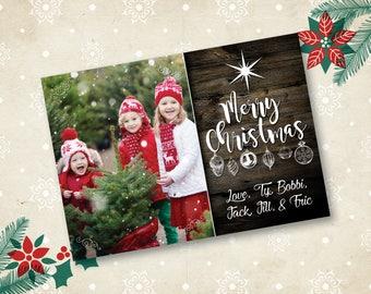 Merry Christmas Printable Custom Christmas Card, Holiday Card, 5x7, 7x5