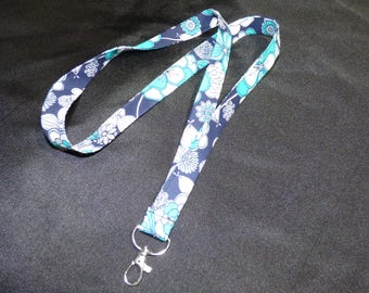 Navy Blue and Turquoise Floral Lanyard ID Badge Holder
