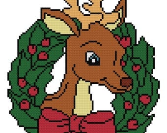A Reindeer Wreath Counted Cross Stitch Pattern PDF Download