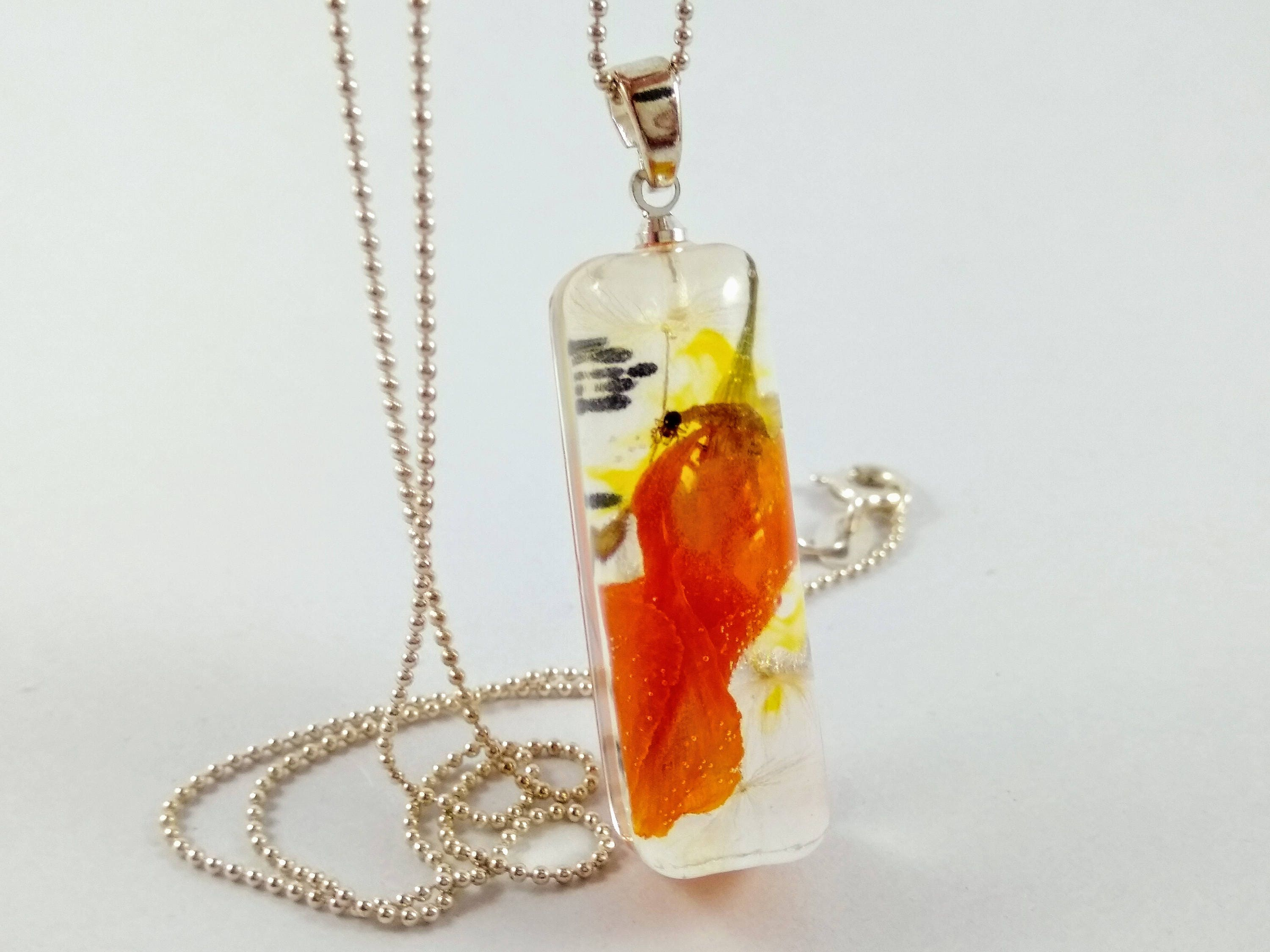 Resin Necklace With Real Poppy Flower And Dandelion Seeds