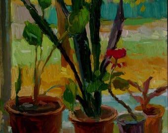 Аrtist's workshop window in the workshop painting Original Oil on cardboard by  Pidvarchan Victoriya