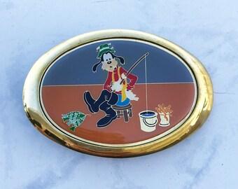 Vintage Men's Belt Buckle Disney Goofy Solid Brass 1980s Baron Buckle