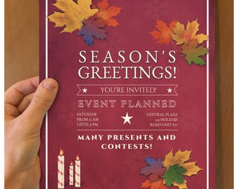Season's greetings flyer for non religious themed flyers. Happy holidays flyer with no religious affiliation, red background with leaves.