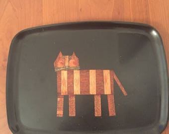 Vintage mid-century Couroc of Monterey cat serving tray
