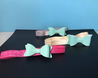 Baby Headband with Faux Leather Bow