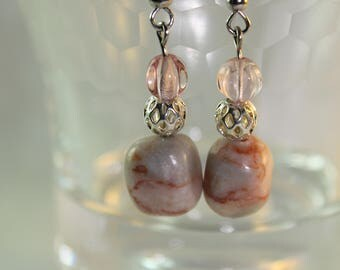 pink marble earrings, marble dangle earrings, marble earrings, pink dangle earrings, beaded earrings, gifts for her, pink earrings, Odvaga