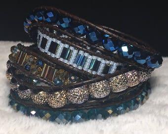 Blue, gold, & bronze wrap