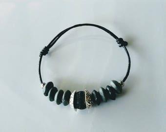 Child: Leather Bracelet with lava stone.