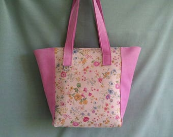 Leather Pink flower Shopper, leather bag, handmade