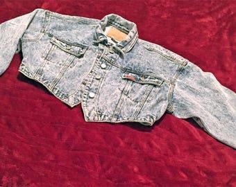 80's Acid Wash Denim Jacket - Jordache Jean Jacket - Vintage Cropped Jacket Medium