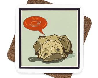 Pick Me Up Pug Square Hardboard Coaster Set  4Pcs