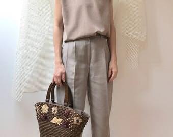 vintage embroidery beaded raffia handbag made of wood