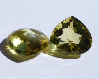 Oro Verde Citrine, One piece, Faceted,Yellow Green Gold faceted pears, or heart shape, approx. 19 x 17mm, 17.75 to 18.0 ct ea. C3021