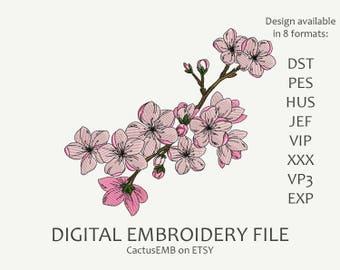 INSTANT DOWNLOAD - Sakura Blossom machine embroidery design. Flowers embroidery. Embroidery design