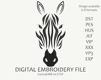 INSTANT DOWNLOAD - Zebra machine machine embroidery design. Patterned zebra. Embroidery design