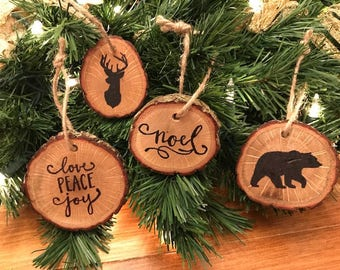 Hand Crafted Oak Christmas Ornaments