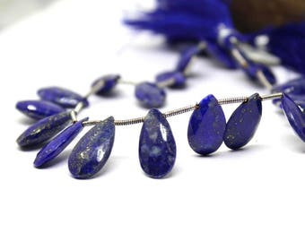 "Natural Lapis Lazuli faected pear briolette 13x7-17x9 mm 4"" strand, lapis lazuli pear briolette for making jewelry, Dark Navy Blue :-21"